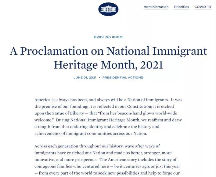 2021年移民传统月宣言